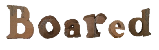 John Radford 'Boared' 2015. Cardboard letters in response to Kelly's collective work.