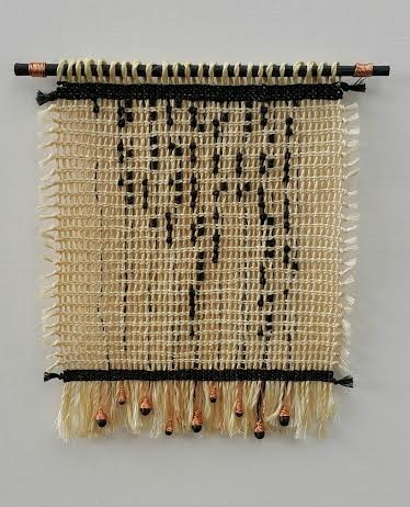 Michelle Mayn 'Streaming Tears' 2015. Muka (Harakeke fibre), harakeke/NZ flax (phormium tenax), commercial dye, copper wire, wood & glass beads, acrylic. 150 x 160mm in response to Kelly Malone's poem 'tissue'